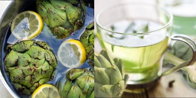 agua de alcachofa con limon